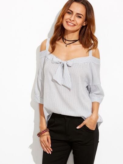 Vertical Striped Cold Shoulder Bow Tie Top