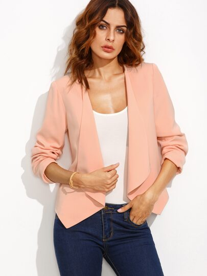 Pink Lapel Long Sleeve Short Blazer