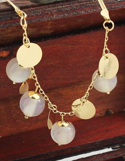 Round Pieces Opal Pendant Necklace