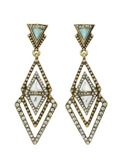 Geometric Rhinestone Big Hanging Earrings