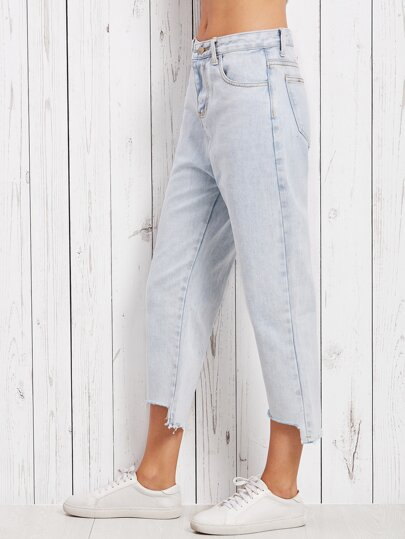 Blue Asymmetric Raw Hem Jeans
