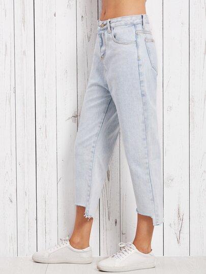 Blue Asymmetric Raw Hem Jeans