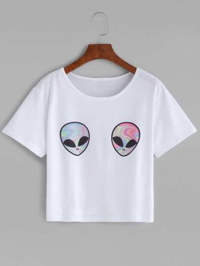 White Aliens Print T-shirt