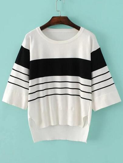 White Striped Split Side High Low Knitwear