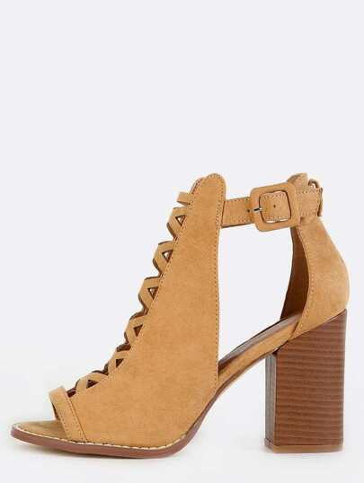 Peep Toe Cut Out Booties CAMEL