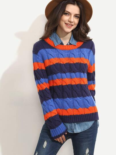Multicolor Stripe Cable-knit Long Sleeve Sweater
