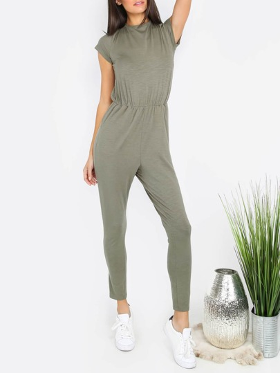 Army Green Pocket Short Sleeve Tie Backless Jumpsuit