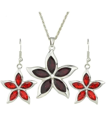 Red Rhinestone Flower Jewelry Set