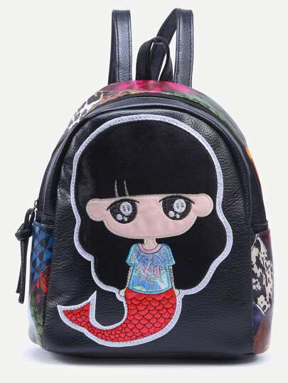 Black Mermaid Embroidered Patchwork Backpack