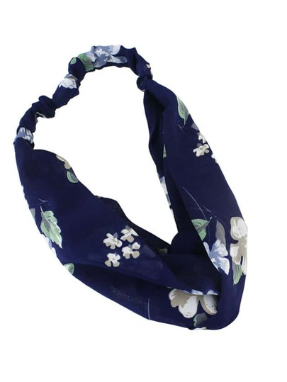 Navyblue Beach Style Flower Elastic Headband For Women
