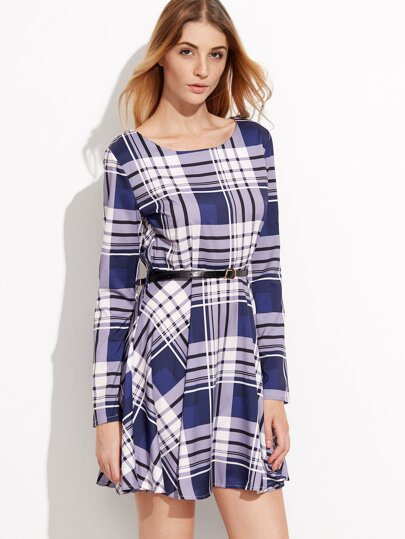 Blue Plaid Long Sleeve A-Line Dress With Belt