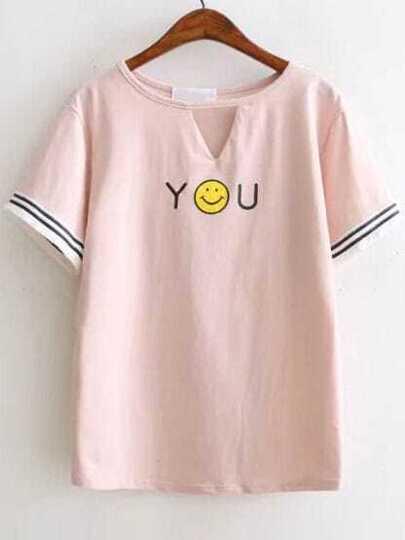 Pink Smile Face Print Cut Out Fringe Detail T-Shirt