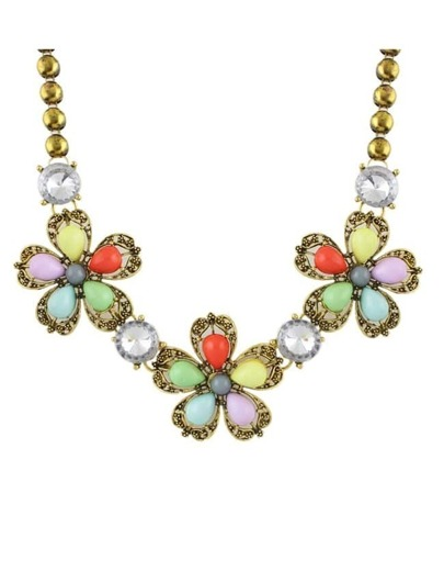 Colorful Stone Flower Shourouk Necklace