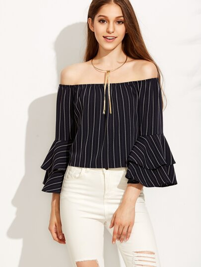 Striped Off The Shoulder Bell Sleeve Top