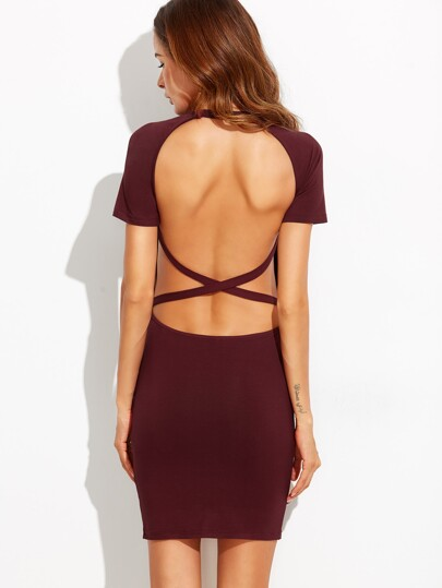 Wine Red Crisscross Open Back Dress