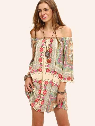 Multicolor Off The Shoulder Shift Boho Dress