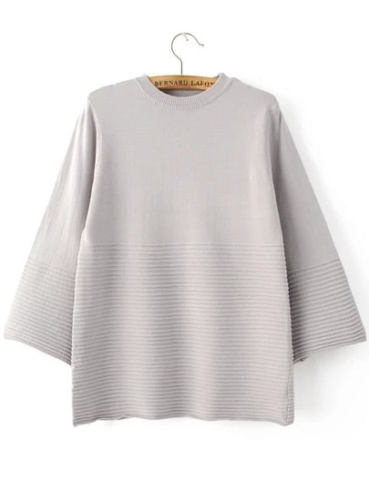 Grey Crew Neck Loose Textured Knitwear