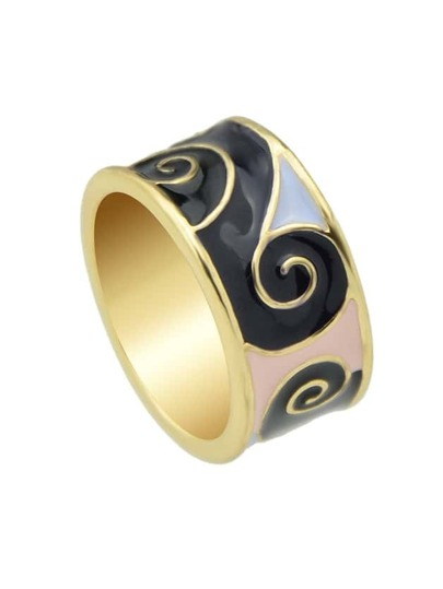 Black Round Gold Plated Finger Ring