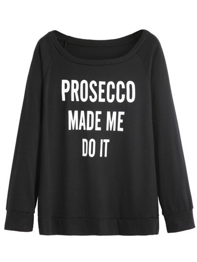 Black Letters Print Raglan Sleeve Sweatshirt
