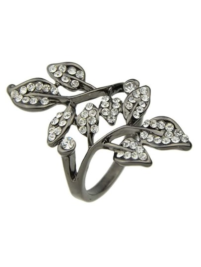 Black New Arrivals Rhinestone Leaf Shape Big Finger Ring