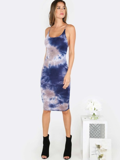 Tie Dye Bodycon Dress NAVY