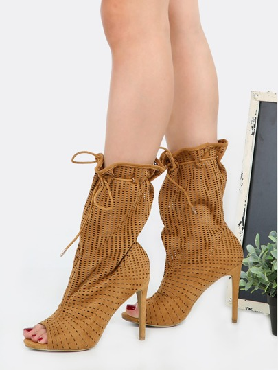 Stiletto Preforated High Shaft Booties TAN