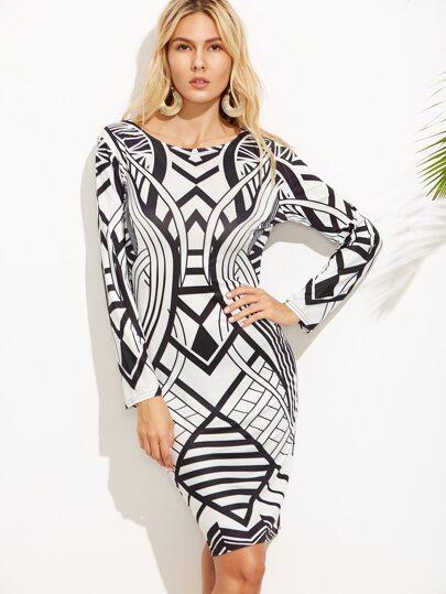 Black And White Print Sheath Dress