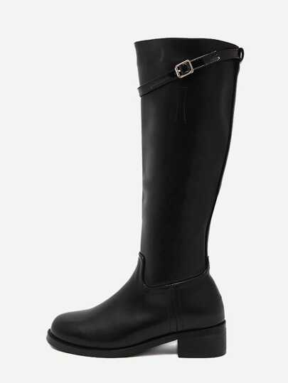 Black Faux Leather Buckle Strap Side Zipper Knee High Boots