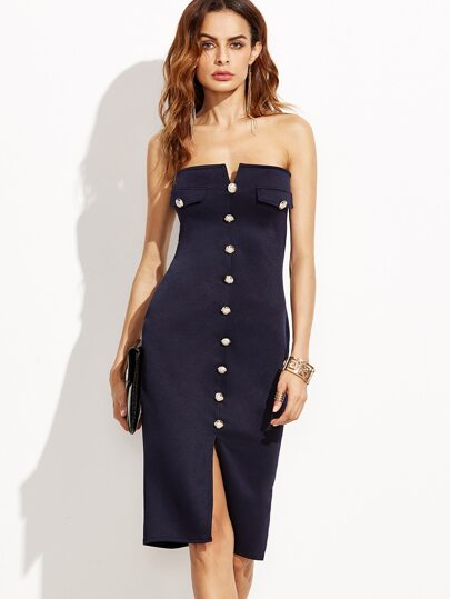 Navy Sweetheart Neck Split Front Button Dress
