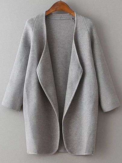 Grey Draped Collar Raglan Sleeve Long Cardigan
