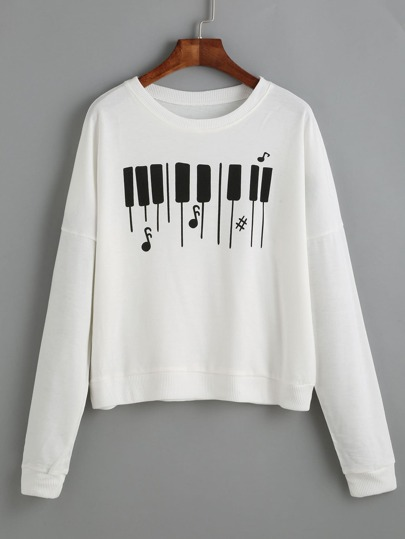 Piano Keyboard Print Drop Shoulder Sweatshirt