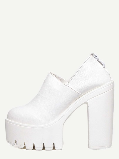 Schuhe mit Plattform und Reißverschluss - weiß
