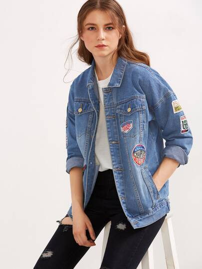 Giacca Denim Patch Con Bottoni - Blu