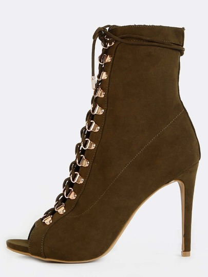 Stiletto Faux Suede Ankle Boots OLIVE
