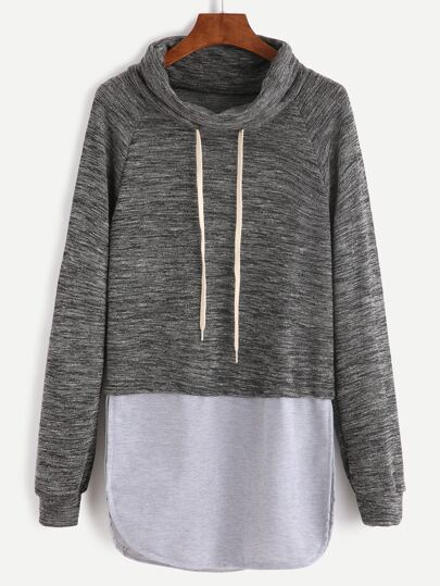 Color Block Drawstring High Neck Slit Side Sweatshirt