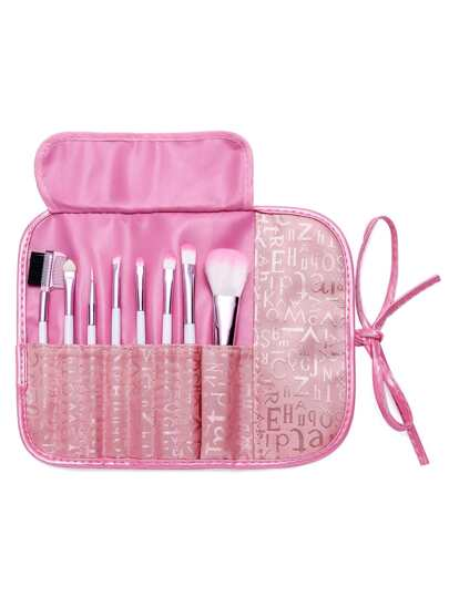 8PCS Pink Professional Makeup Brush Set With Letter Print Bag