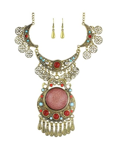 Antique Gold Tibetan Wedding Jewelry Imitation Gemstone Statement Jewelry Set For Women