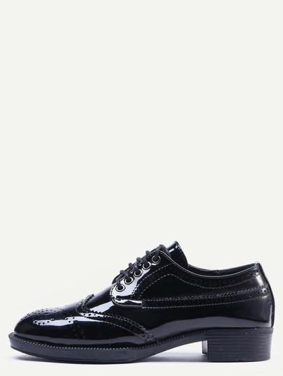 Chaussures à semelle compensé verni - noir