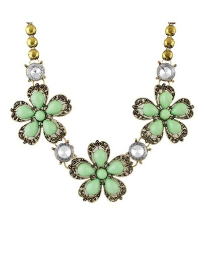 Green Stone Flower Shourouk Necklace