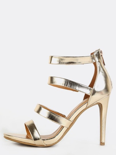 Metallic Four Strap Heels GOLD