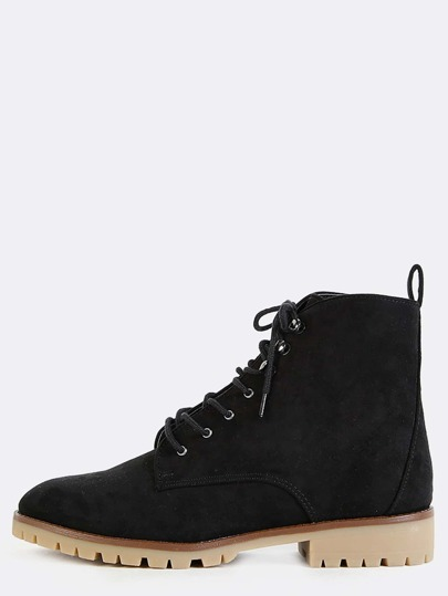 Suede High Top Ankle Booties BLACK