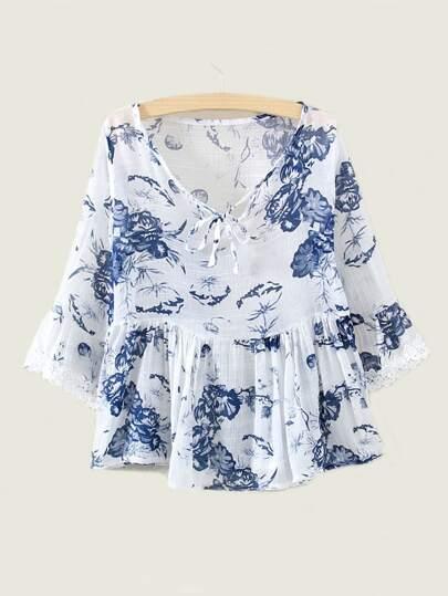 Blue Floral Print Tie Neck Crochet Ruffle Trim Peplum Blouse
