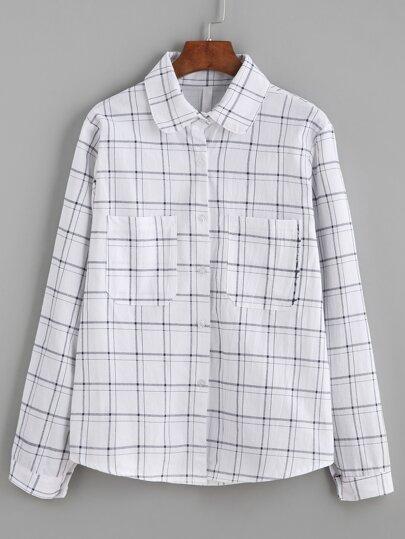 White Windowpane Plaid Pockets Shirt