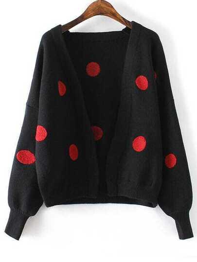 Black Polka Dot Lantern Sleeve Open Front Sweater Coat