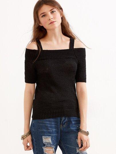 Jersey con hombros al aire - negro