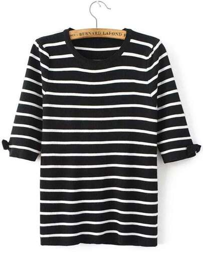 Black Striped Elbow Sleeve Bow Knitwear