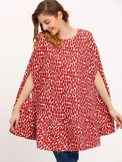 Red Crew Neck Print Cape Dress