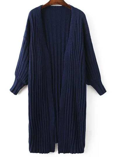 Navy Ribbed Collarless Drop Shoulder Long Sweater Coat