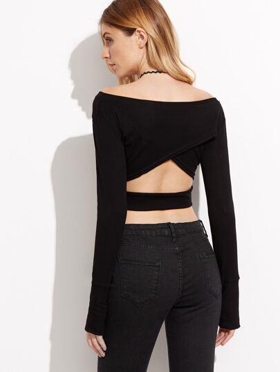 Black Cutout Back Crop T-shirt With Fingerless Glove Sleeve