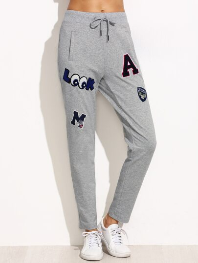 Heather Grey Drawstring Jersey Pants With Patch Detail